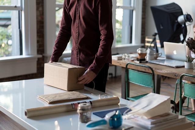 kancelář, stěhování, krabice